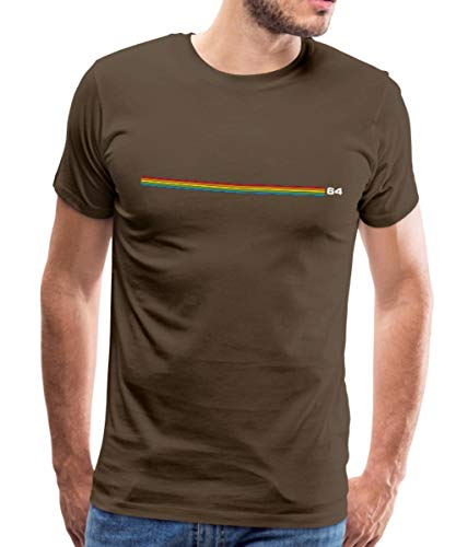 Spreadshirt Regenbogen Streifen 64 Männer Premium T-Shirt, M, Edelbraun - Regenbogen-streifen-shirt