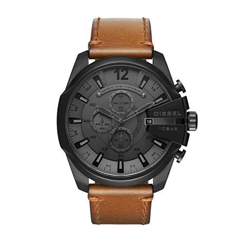 Diesel Herren Analog Automatik Uhr mit Leder Armband DZ4463