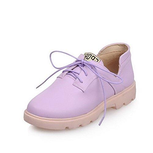 VogueZone009 Femme Lacet Rond à Talon Bas Pu Cuir Couleur Unie Chaussures Légeres Violet