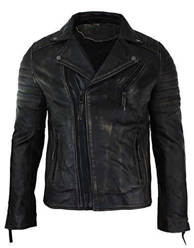 Mens Slim Fit Cross Zip Vintage Brando Washed Real Leather Jacket Black Brown Tan