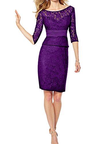 TOSKANA BRAUT Glamour Neu Schwrz Rund Spitze Etui Cocktail Partykleider Kurz Abschlusskleider Abendkleider mit Halbarm Violett-1
