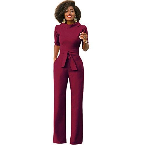 Damen Elegante Jumpsuit Lang Weites Bein Overalls Hoher Taille Spielanzug mit Gurt Halbe Hülse Business Büro, Weinrot L