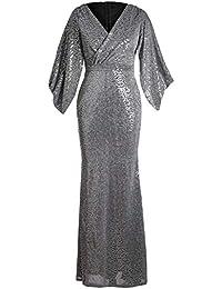 4e6c3d90fc0 Eozy Robe Longue à Col V Profond Gris Manche Gros Amincissant Robe de  Cérémonie Banquet Anniversaire