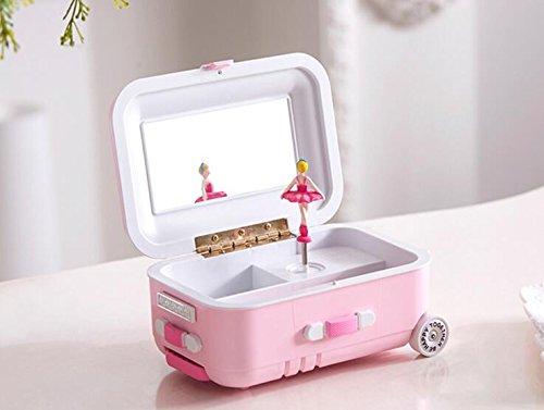 whyyudan Koffer Design Kommode drehbar Ballerina Spieluhr mit Schminkspiegel Kid 's Geschenk Rosa