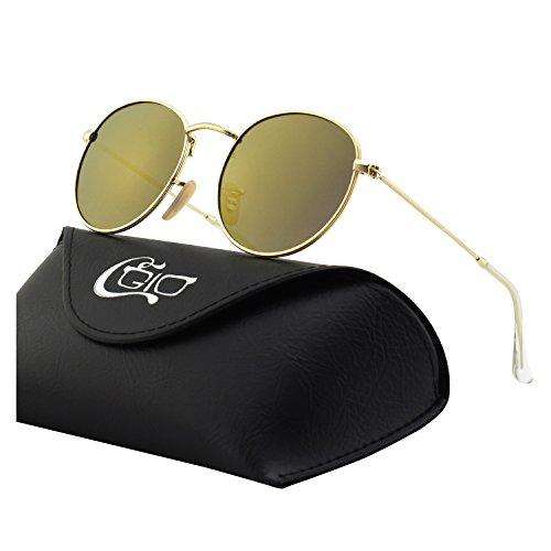 5bb7921e99 CGID E47 Pequeño Estilo Vintage Retro Lennon inspirado círculo metálico  redondo gafas de sol polarizadas para