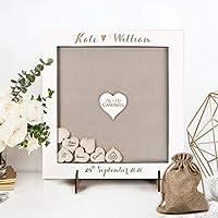 Guestbook matrimonio Libro degli ospiti bianco per matrimonio personalizzato legno cornice cuori lanciati vintage nascita