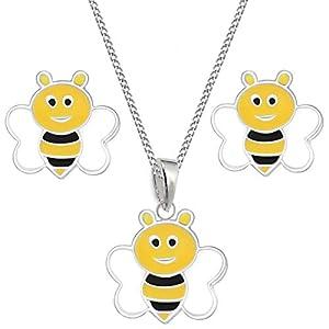 Biene Kinder Set Ohrstecker Anhänger Halskette 925 Sterling Silber Mädchen Ohrringe