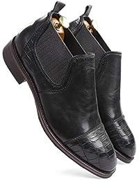 one8 Select by Virat Kohli Men's Black Leather Chelsea Boots