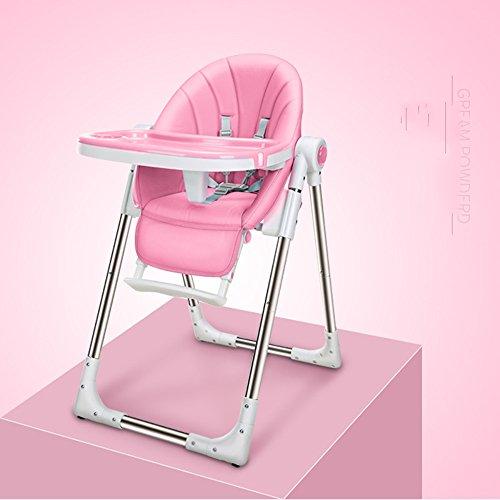 KFXL yizi Silla de Comedor Ajustable Alta y Baja Asiento Infantil Multifuncional Plegable Conveniente para Comer Mesa de Comedor Mesa de bebé 4 Colores Opcionales (Color : Pink)