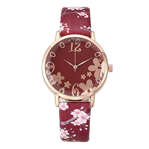 UINGKID Damen Armbanduhr Analog Quarz Damenmode geprägte Blumen kleine frische gedruckte Gürtel Student Uhr
