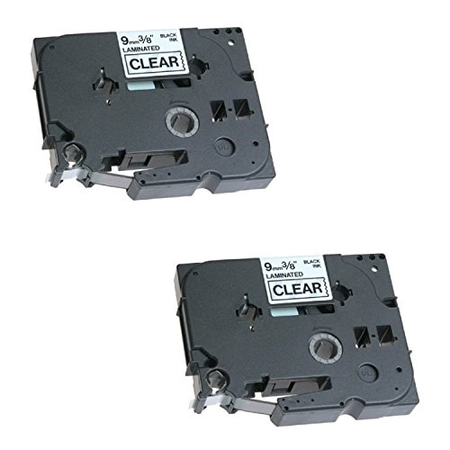 2 x Compatible TZ-121/TZe-121 Black on Clear Label Tapes (9mm x 8m) for Brother P-Touch Label Printing Machines