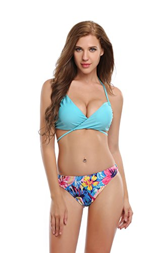 Koerse Damen Bikini-Set Gr. S, aqua (Petite Print Halter Top)