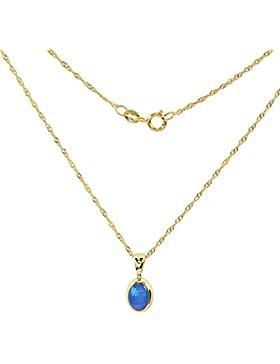 Terra Opalis Damen-Halskette mit Anhänger echt Gold 375 (9 Karat) Kristallopal Opal 0,40ct 45cm Singapurkette