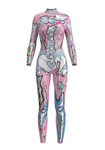 URVIP Damen Halloween Jumpsuit Kostüm 3D Print Langarm Skinny Knochen Skeleton Catsuit Cosplay Skelett Overall Bodysuit Anzug Karneval Fasching BDS-97001 M