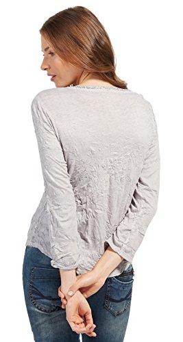 TOM TAILOR Damen Langarmshirt Dyed Crincle Shirt light frost grey