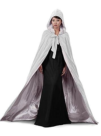 dressvip Blanc Deluxe Cape à capuche pour femme mariage, blanc/argenté, XX-Large
