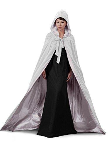 dressvip mittelalter Umhang mit Kapuze fur Herren Damen Kind Kundengrosse, weiss-silber, (Weiss Mittelalter Kleid)