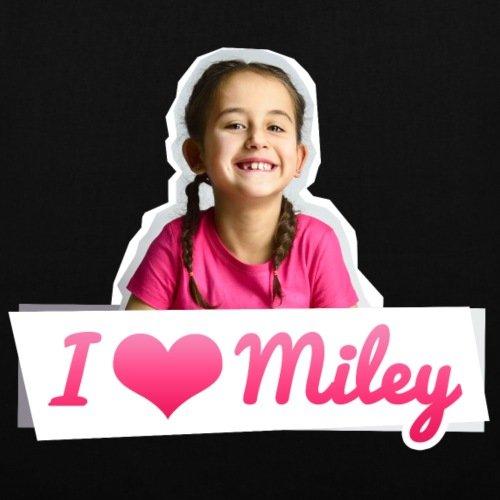 Spreadshirt Mileys World I Love Miley Spruch Und Foto Stoffbeutel Schwarz