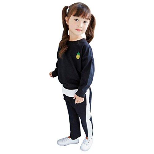 Für 2-7 Jahre alte Mädchen Outfits , Janly Kids Sportkleidung mit Ananas Stickerei T-Shirt Pullover Hosen Anzüge (4-5 Jahre alte, Schwarz)