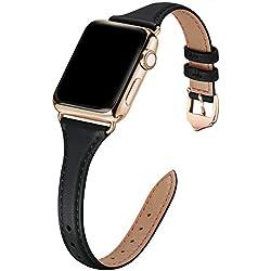 WFEAGL Compatible pour Bracelet Watch 42mm 44mm, Bracelet de Rechange Sport en Cuir Multicolore pour Watch Série 5/4/3/2/1, Femme, Homme (38mm, 40mm,Slim Noir+Or Adapter)