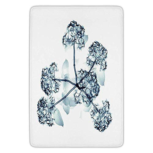 Bathroom Bath Rug Kitchen Floor Mat Carpet,Xray Flower,X ray Image of Hortentia Flower Nature Inspired Deeper Crystal Light Close Look Art,Teal White,Flannel Microfiber Non-slip Soft Absorbent
