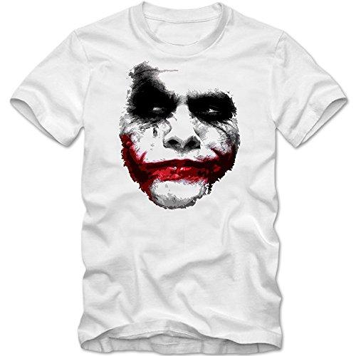 Joker T-Shirt   Herren   Shadow   Heath Ledger   Movie   Clown   Horror, Farbe:weiß (white);Größe:L