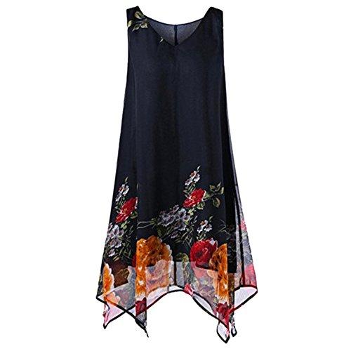 Shujin Damen Sommer Elegant Chiffon Kleid V Ausschnitt Ärmelloses Mini Strandkleid Asymmetrisch Kurze Kleid A-Linie Shirtkleid - Kurz V-ausschnitt Kleid