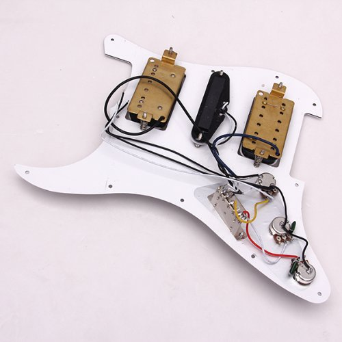SODIAL(R) Loaded Prewired Electric Guitar Pickguard Pickups 11 Hole HSH White