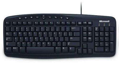 Microsoft Wired Keyboard 500 PS/2 UK Black Tastatur PS/2 QWERTY Schwarz - Tastaturen (Verkabelt, PS/2, QWERTY, Schwarz) - Schwarz Wired Keyboard
