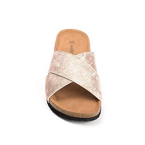 ... Ideal Shoes Mules Compensées Nacrées Effet Reptile Feliana Rose ... 24163c8da06d