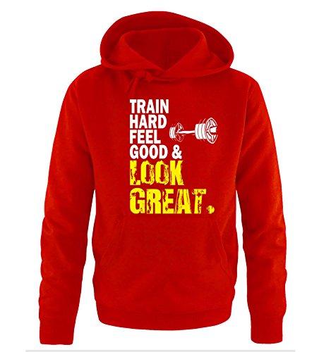 Comedy Shirts - TRAIN HARD & LOOK GREAT - DELUXE - Uomo Hoodie cappuccio sweater - taglia S-XXL different colors rosso / bianco-giallo