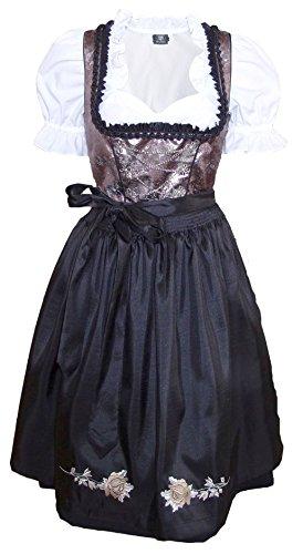 1-teiliges Midi-Dirndl Landhaus Kleid Dirndel ohne Bluse schwarz/weinrot, Größe:46