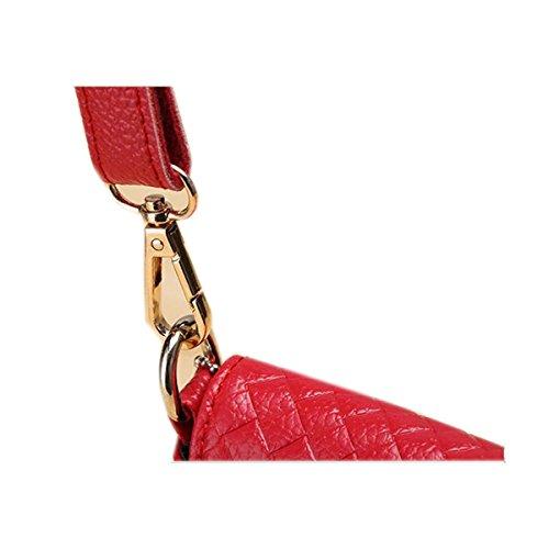 WU Zhi Lady In Pelle A Losanga Borse Sacchetto Del Messaggero Red