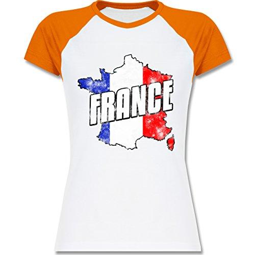 EM 2016 - Frankreich - France Umriss Vintage - zweifarbiges Baseballshirt / Raglan T-Shirt für Damen Weiß/Orange