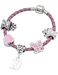 Children's Pink Leather Happy 10th Birthday Charm Bracelet With Lovely Jewellery Hut Gift Pouch - Girl's & Children's Birthday Gift Jewellery