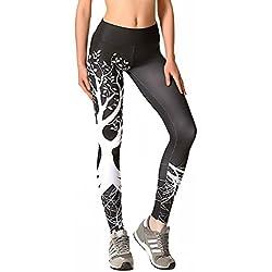 LaLaAreal Mallas Deportivas Mujer Pantalones Pirata Leggins Deportes para Running Yoga Fitness Gym (D-Negro, Medium)