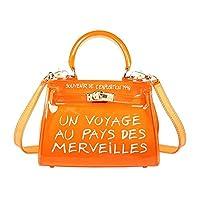 Clear CrossBody Bag, Women Candy Color Jelly Clutch Handbag Transparent Shoulder Bag for Women, Girls [Orange]