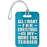 Designsify All I Want for Christmas is My Wire Fox Terrier - Luggage Tag Turquoise/One Size, Gepäckanhänger Reise Kreuzfahrt Koffer Gepäck Kofferanhänger, Geschenk für Geburtstag, Weihnachten