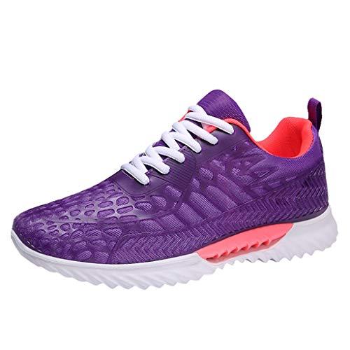 CUTUDE Turnschuhe für Herren, Mode-Männer, die spinnende Turnschuhe fliegen Lässiger atmungsaktiver Schuh Student Laufschuhe Mesh atmungsaktiver weicher Boden Laufsport Wanderschuhe (Lila, 44 EU)