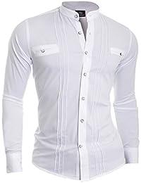 D&R Fashion Men's Elegant Shirt with Band Collar Slim Fit White Black Cotton