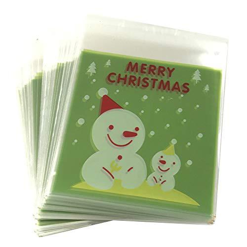 Selbstklebende Weihnachtssäckchen für Süßigkeiten/Kekse, zum Basteln, 100 Stück #02