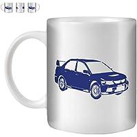 STUFF4 Tazza di Caffè/Tè 350ml/Blu/Lancer Evo IX 9/Ceramica Bianca/ST10
