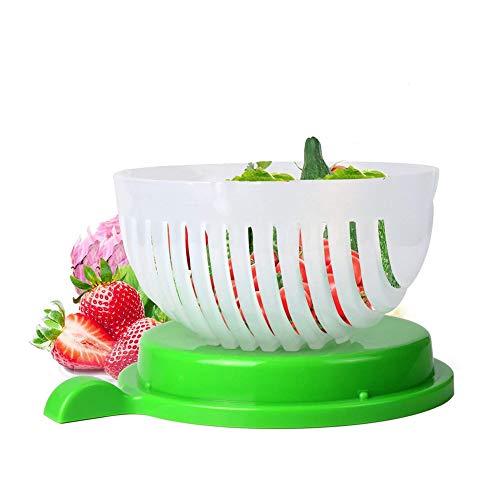 Lorcoo Essoreuse à Salade et Salade Coupeur Bol, légumes Saladier Coupeur Salad Cutter Bowl