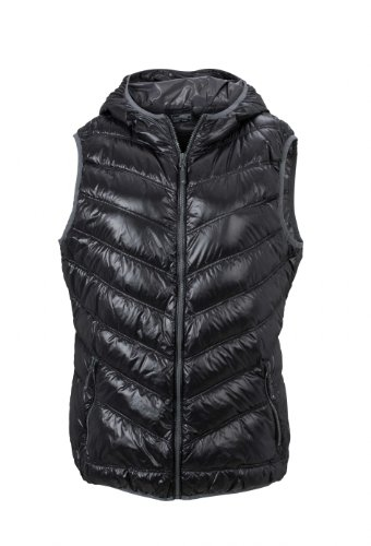James & Nicholson Damen Jacke Weste Ladies' Vest schwarz (black/grey) Large Womens Down Vest
