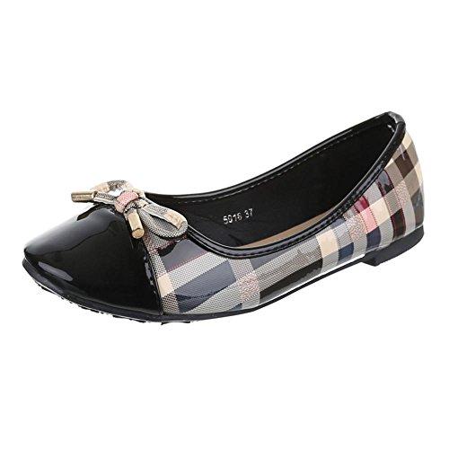 Damen Schuhe, 5016, BALLERINAS PUMPS Schwarz
