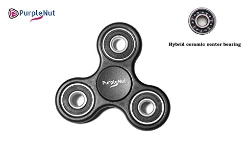 Original Fidget Spinner Toy With 4 Ceramic High Speed Bearings For Up To 3 Minute Spins Our EDC Hand Tri Spinner Relieves ADHD, Anxiety And Boredom For Kids And Adults By PurpleNut (Black)