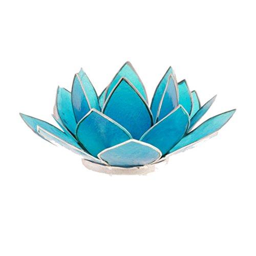 Porte Bougie Fleur de Lotus Bleu et argent 5 ème chakra