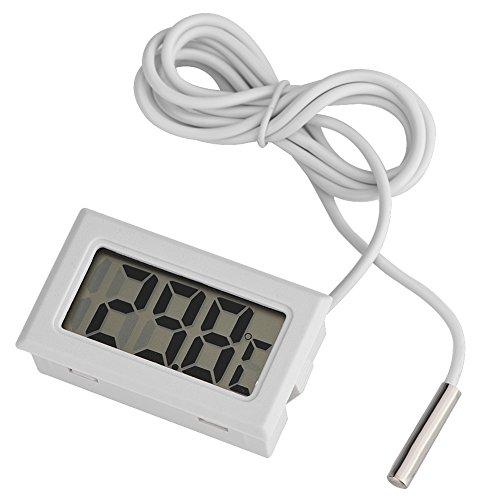 Richer-R Termómetro Digital Medidor de Temperatura,Thermometer hogar Interior con Pantalla LCD Sensor de 1.5 m para Temperature Monitor de Acuarios, Aves, Reptiles, Incubadoras, Invernaderos, etc.