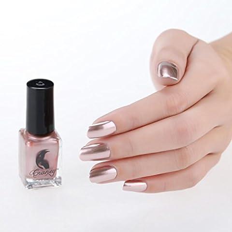 Malloom® Miroir Vernis à ongles argent Coller le miroir en acier inoxydable en mousse en métal Vernis à ongles en argent pour l'art des ongles(B)