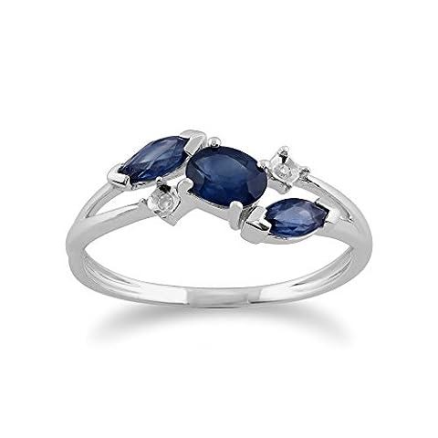 Gemondo Bague Saphir, 9ct Or Blanc 0.78ct Bleu Kanchanaburi Bague Saphir & Diamant